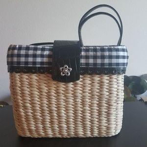 Vintage Brighton Straw Bucket Handbag
